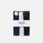 Комплект мужских трусов Happy Socks Solid 3 Pack Black/Blue/White фото- 0