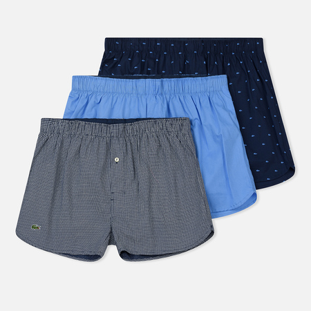 Комплект мужских трусов Lacoste Underwear 3-Pack Boxers Ultra Marine/Dark Navy/Grey