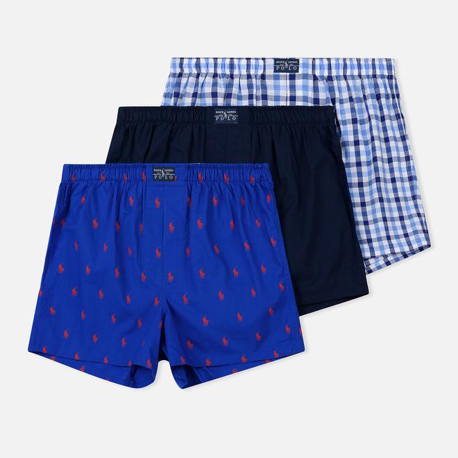 Комплект мужских трусов Polo Ralph Lauren Boxer 3-Pack Milton/Navy/Royal All Over Print Red