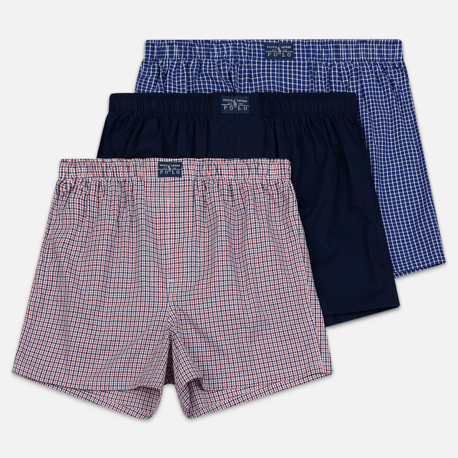 Комплект мужских трусов Polo Ralph Lauren Boxer 3-Pack Navy/William Plaid/Denis Plaid