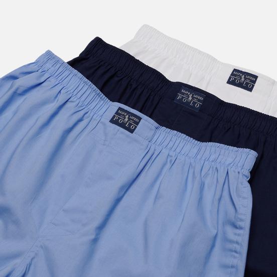 Комплект мужских трусов Polo Ralph Lauren Boxer 3-Pack White/Blue/Navy