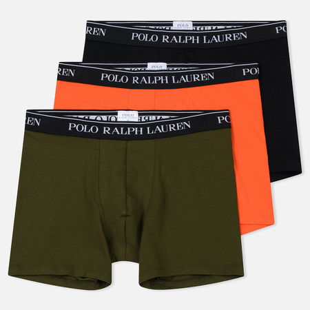 Комплект мужских трусов Polo Ralph Lauren Boxer Brief 3-Pack Black/Olive/Active Orange