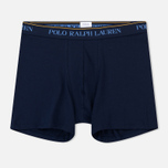 Комплект мужских трусов Polo Ralph Lauren Boxer Brief 3-Pack Navy/Bermuda/White All Over Print Blue фото- 1