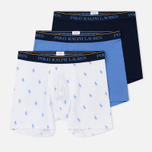 Комплект мужских трусов Polo Ralph Lauren Boxer Brief 3-Pack Navy/Bermuda/White All Over Print Blue фото- 0