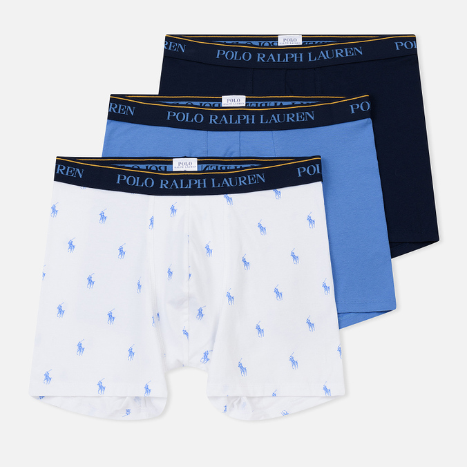Комплект мужских трусов Polo Ralph Lauren Boxer Brief 3-Pack Navy/Bermuda/White All Over Print Blue