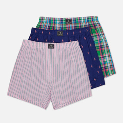 Комплект мужских трусов Polo Ralph Lauren Classic Boxer 3-Pack Blue Yacht Chroma Pink All Over Pony Print/Nantucket Plaid/Chillmark Stripe