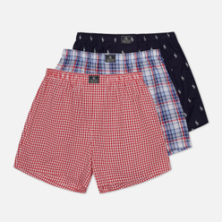 Комплект мужских трусов Polo Ralph Lauren Classic Boxer 3-Pack Cruise Navy Nevis All Over Pony Print/Myers Plaid/Freeport Plaid