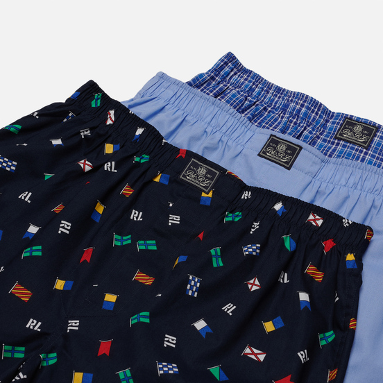 Комплект мужских трусов Polo Ralph Lauren Classic Boxer 3-Pack Signal Flag Print/Durham Plaid/Blue