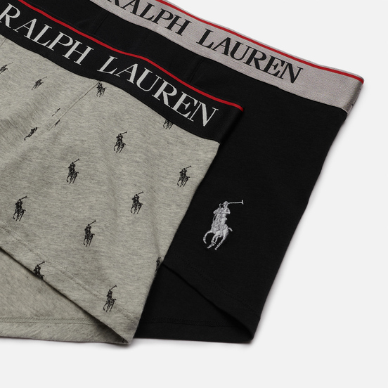 Комплект мужских трусов Polo Ralph Lauren Classic Trunk 2-Pack Black/Andover Heather All Over Print Pony