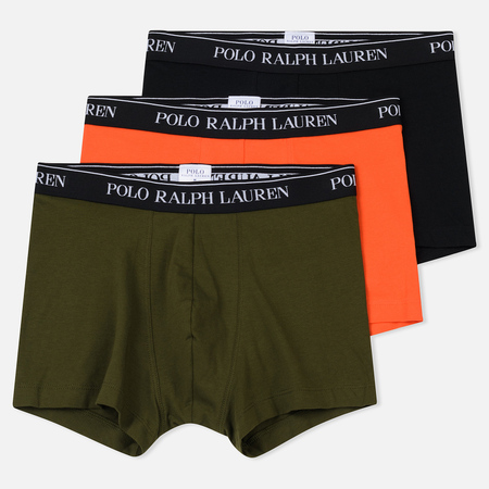 Комплект мужских трусов Polo Ralph Lauren Classic Trunk 3-Pack Black/Fall Olive/Active Orange