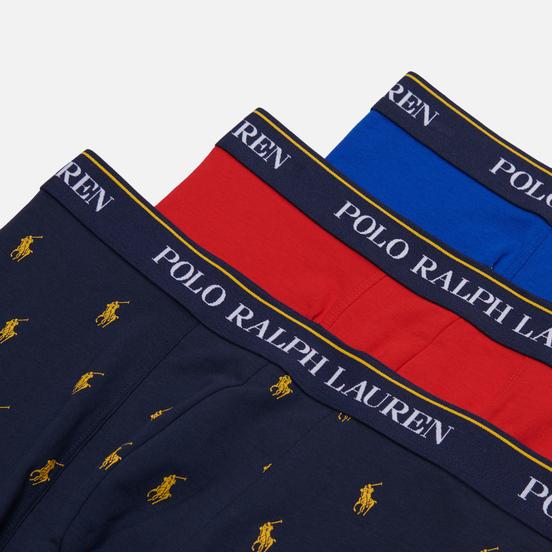 Комплект мужских трусов Polo Ralph Lauren Classic Trunk 3-Pack Sapphire Star/Red/Navy All Over Pony Print