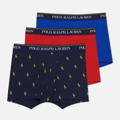 Комплект мужских трусов Polo Ralph Lauren Classic Trunk 3-Pack Sapphire Star/Red/Navy All Over Pony Print