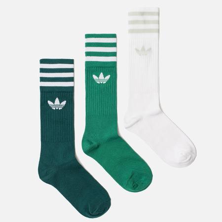 Комплект носков adidas Originals 3-Pack Solid Crew Noble Green/Bold Green/White