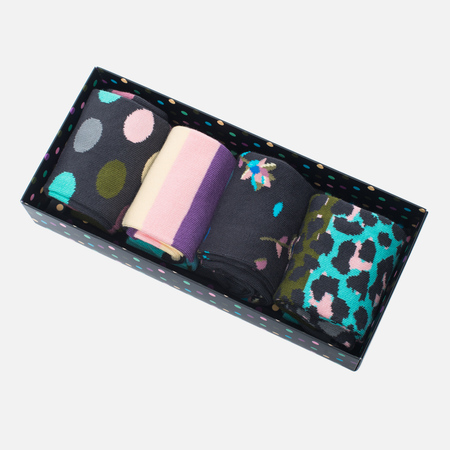 Happy Socks Stripe Socks Box Blue/Brown/Green/Pink/Purple/Turquoise