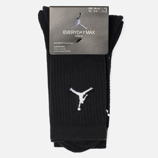 Комплект носков Jordan Jumpman Everyday Max Crew 3-Pack Black/Black/Black
