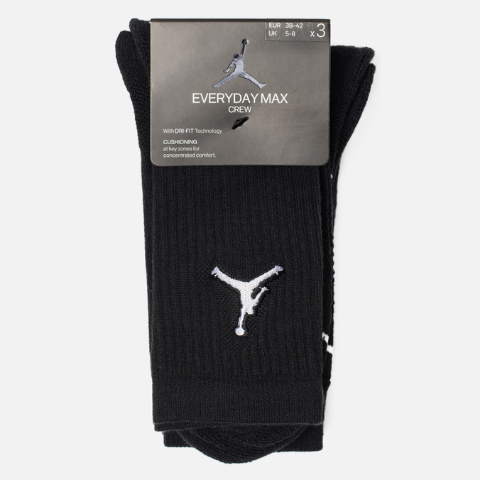 Комплект носков Jordan Jumpman Everyday Max Crew 3-Pack Black/Black/Black
