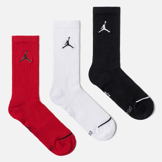 Комплект носков Jordan Jumpman Everyday Max Crew 3-Pack Black/White/Gym Red