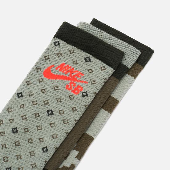 Комплект носков Nike SB 3-Pack Everyday Max Lightweight Crew Olive Multi-Color