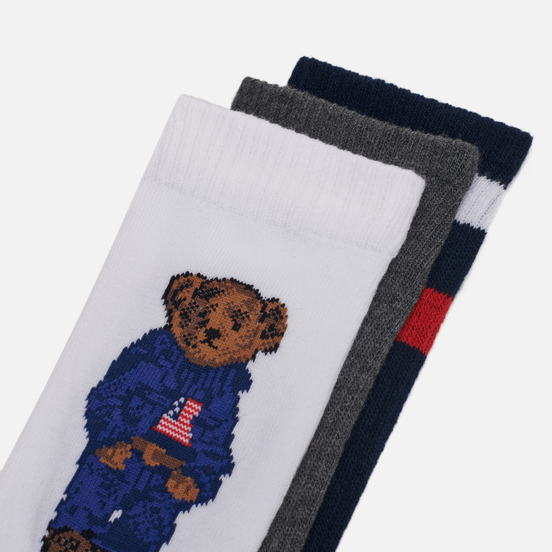 Комплект носков Polo Ralph Lauren 3-Pack Sport Bear Crew White/Navy/Grey
