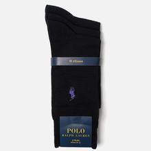 Комплект носков Polo Ralph Lauren Mercerized Cotton 3-Pack Black фото- 1