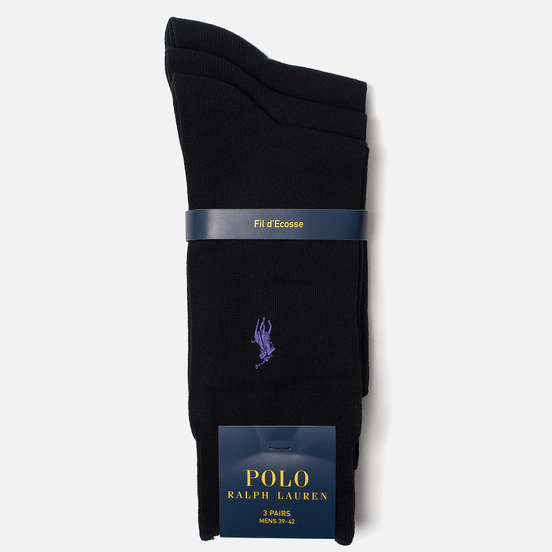 Комплект носков Polo Ralph Lauren Mercerized Cotton 3-Pack Black