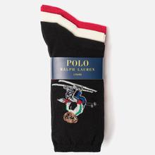 Комплект носков Polo Ralph Lauren Ski Bear And Holiday Bear Gift Box 3-Pack Black/Ivory/Red фото- 1