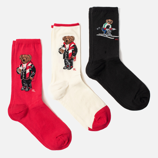 Комплект носков Polo Ralph Lauren Ski Bear And Holiday Bear Gift Box 3-Pack Black/Ivory/Red