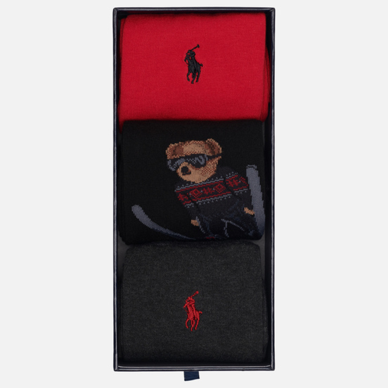 Комплект носков Polo Ralph Lauren Skijump Bear Crew 3 Pack Black/Dark Charcoal/Pion Red