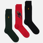 Комплект носков Polo Ralph Lauren Skijump Bear Crew 3 Pack Pion Red/Black/College Green фото - 0