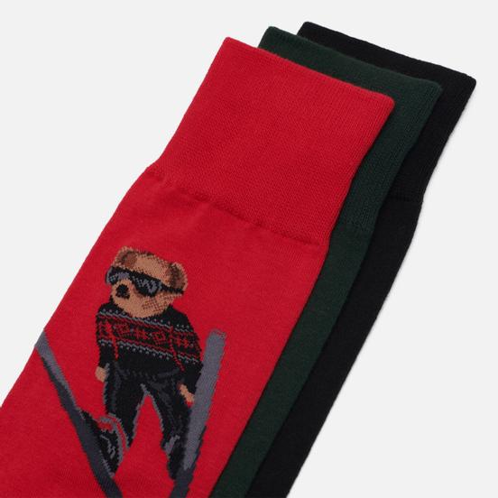 Комплект носков Polo Ralph Lauren Skijump Bear Crew 3 Pack Pion Red/Black/College Green