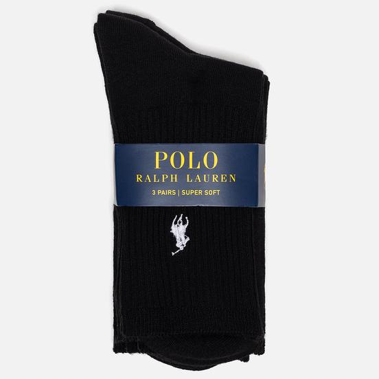 Комплект носков Polo Ralph Lauren Supersoft Crew 3-Pack Black