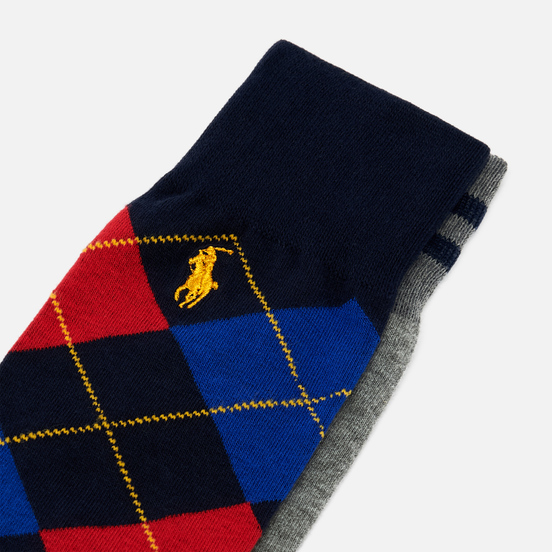 Комплект носков Polo Ralph Lauren Varsity Tiger & Argyle Cotton Crew 2-Pack Foster Grey/Navy