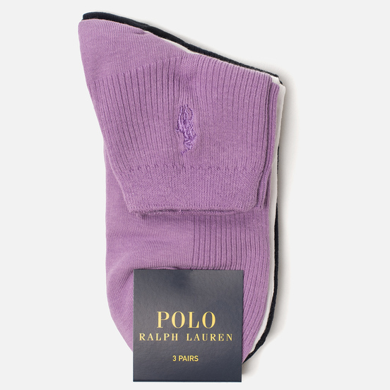 Комплект носков Polo Ralph Lauren Rib Anklet 3-Pack Violet/White/Navy