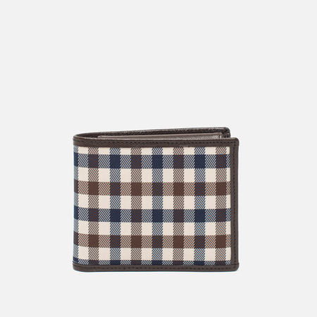 Aquascutum Wallet Club Check Wallet Brown