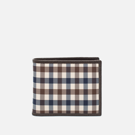 Aquascutum Club Check ID Sleeve Wallet Brown