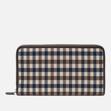 Aquascutum Travel Zip Wallet Club Check Brown