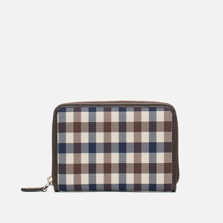 Aquascutum Zip Small Wallet Club Check Brown
