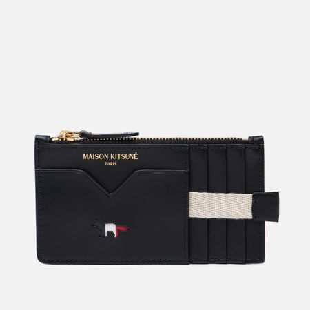 Кошелек Maison Kitsune Tricolor Zipped Coin Leather Black