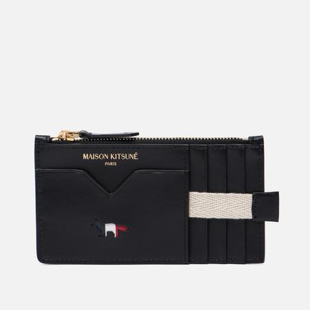 Кошелек Maison Kitsune Tricolor Zipped Coin Leather Black