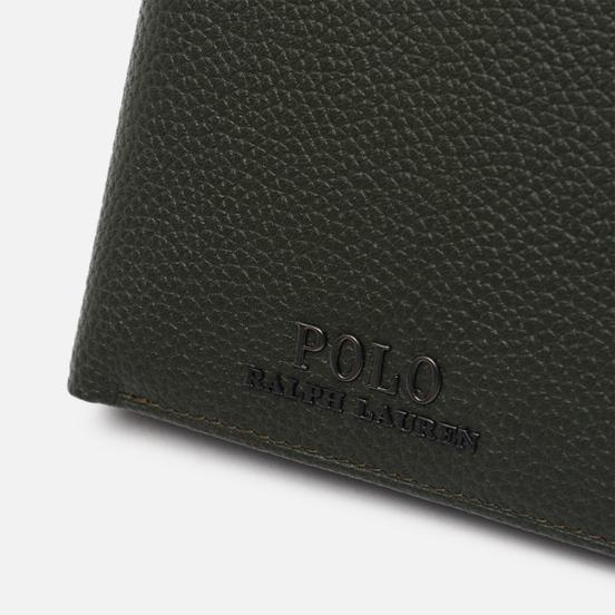 Кошелек Polo Ralph Lauren Logo PRL Pebbel Leather Bill Coin Olive