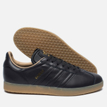 Кроссовки adidas Originals Gazelle Leather Premium Utility Black/Gold Metallic фото- 1