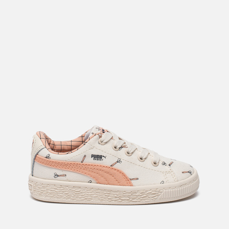 Кроссовки для малышей Puma x tinycottons Basket Canvas Infant Whisper White/Peach Nougat
