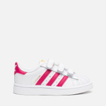 Кроссовки для малышей adidas Originals Superstar Foundation CF I White/Bold Pink/White фото- 0