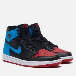Женские кроссовки Jordan Wmns Air Jordan 1 High OG UNC To Chicago Black/Dark Powder Blue/Gym Red
