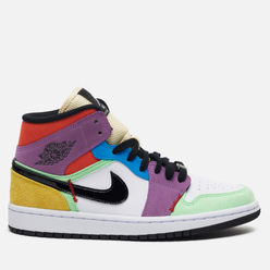 Кроссовки Jordan Wmns Air Jordan 1 Mid SE White/Black/Lightbulb/Team Orange