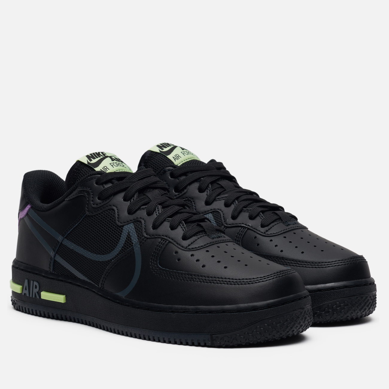 Кроссовки Nike Air Force 1 React Black/Anthracite/Violet Star/Barely Volt