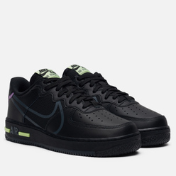 Мужские кроссовки Nike Air Force 1 React Black/Anthracite/Violet Star/Barely Volt