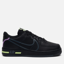 Кроссовки Nike Air Force 1 React Black/Anthracite/Violet Star/Barely Volt фото- 3