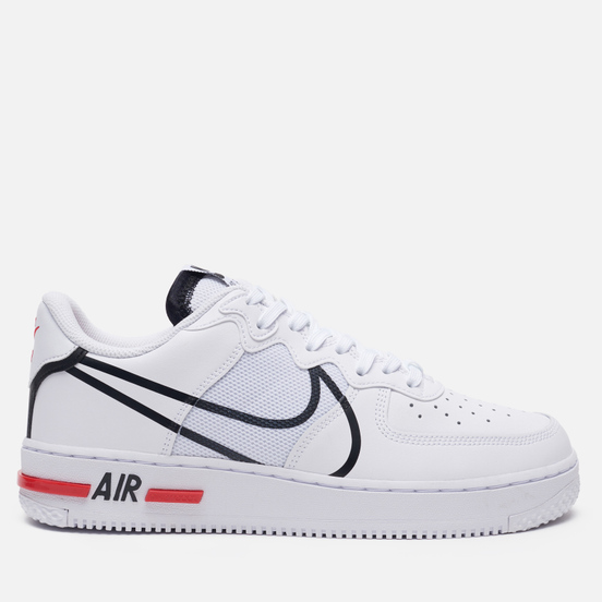 Мужские кроссовки Nike Air Force 1 React White/Black/University Red