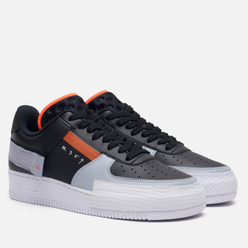 Мужские кроссовки Nike Air Force 1 Type Black/Hyper Crimson/Wolf Grey/White
